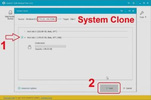 Transfer windows from to SSD using free program EaseUS Todo Beckup Step 3
