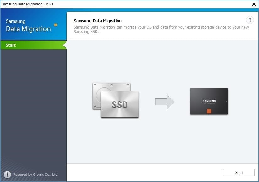 Transfer windows to SSD Samsung Data Migration step 1