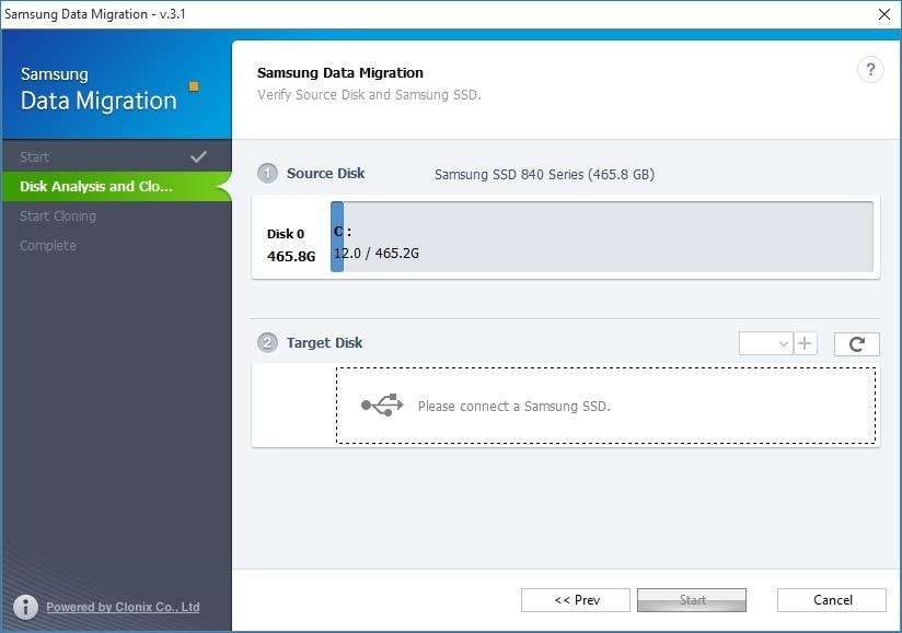 Transfer windows to SSD Samsung Data Migration step 2