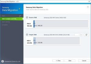 Transfer windows to SSD Samsung Data Migration step 3