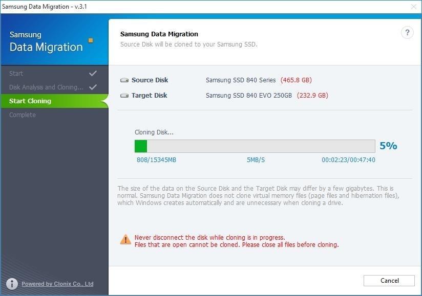 Transfer windows to SSD Samsung Data Migration step 4