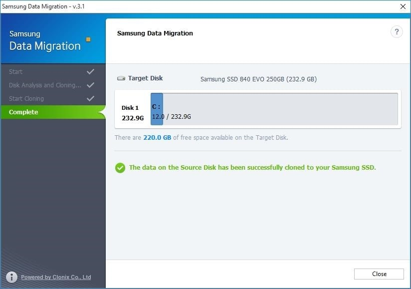 Transfer windows to SSD Samsung Data Migration step 5