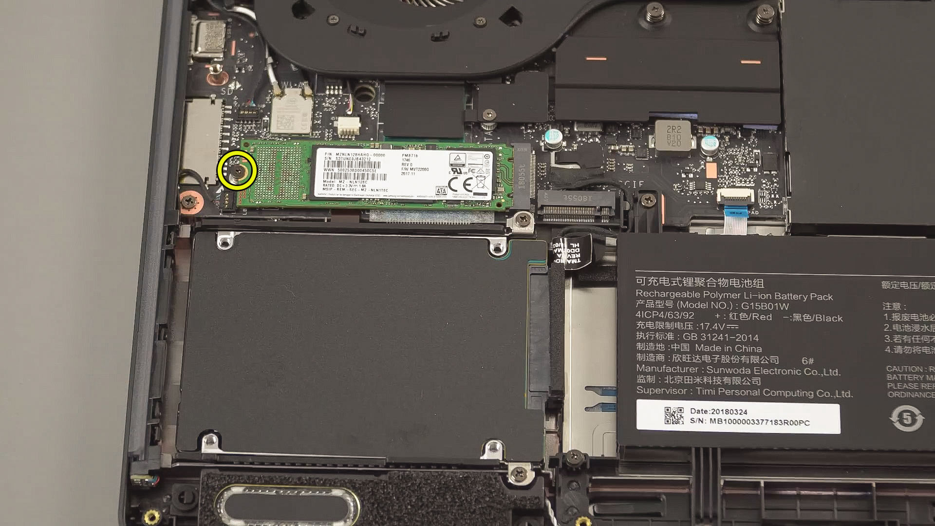 Upgrade m2 SSD Xiaomi Mi Gaming Laptop Step 1