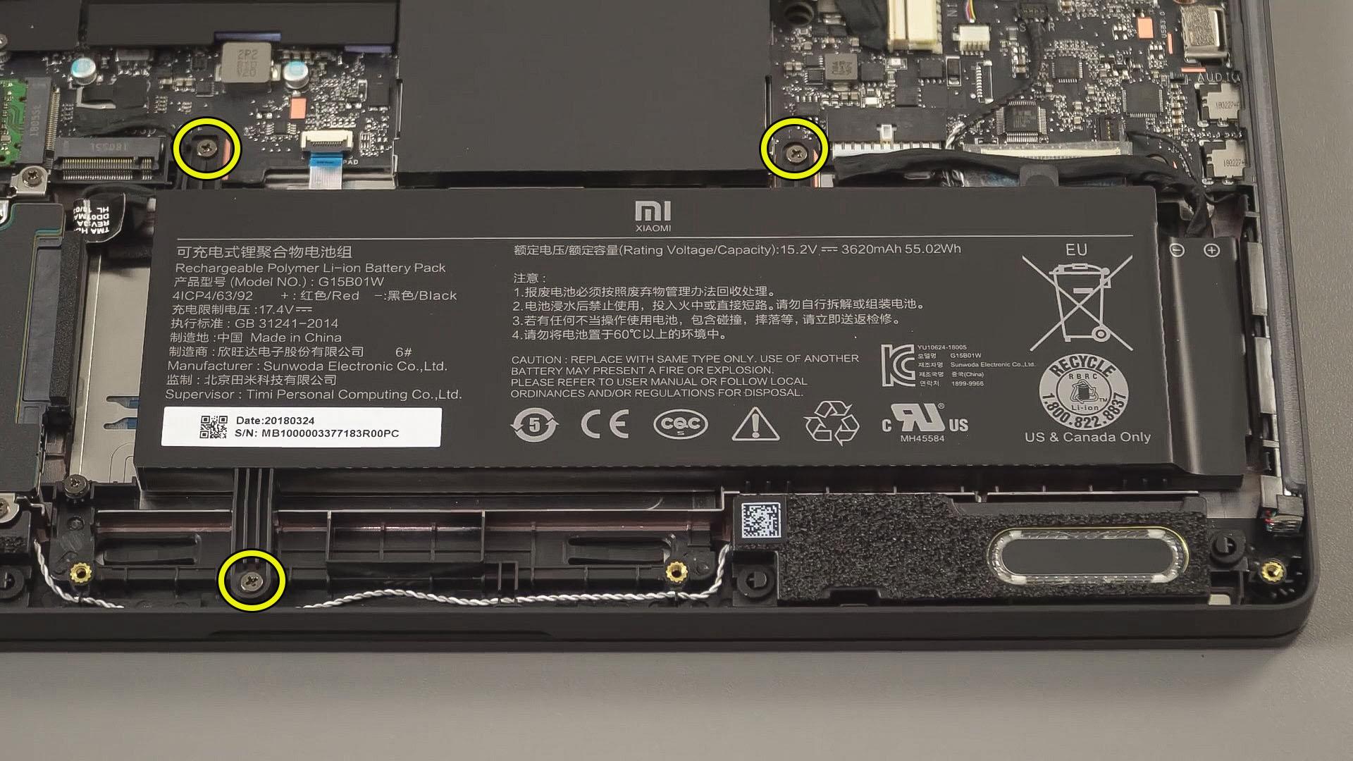 replace battery Xiaomi Mi Gaming Laptop